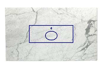Evier de Statuario Venato marbre sur mesure pour salle de bains 150x60 cm