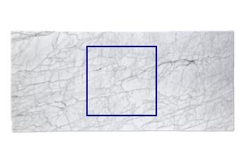 Gesägte Platte aus Calacatta Zeta Marmor geschliffen, offenes Buch ...