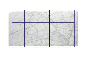 Tegels 50x50 cm van Calacatta Zeta marmer op maat voor keuken