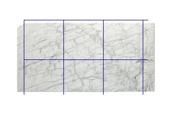 Tegels 80x80 cm van Calacatta Zeta marmer op maat voor keuken